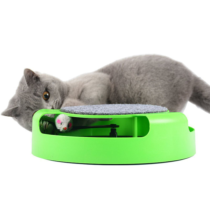 Creative Monolayer Cat Amusement Disk with Simulate Mouse Funny Pet Toy  green