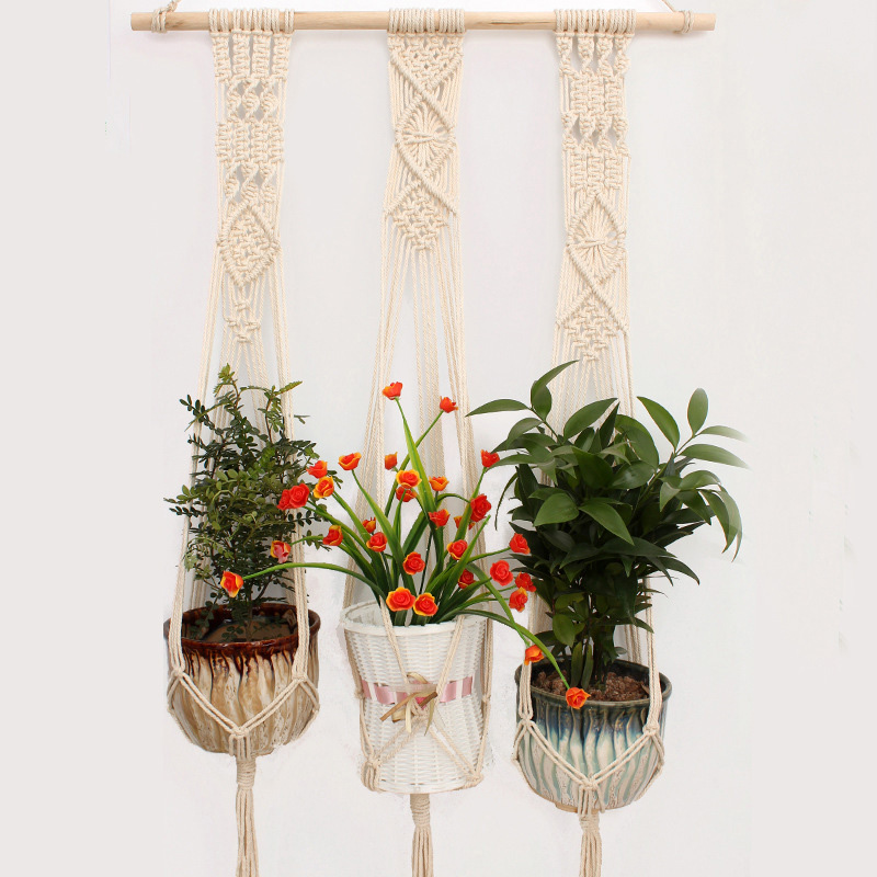 Macrame Plant Hanger Indoor Outdoor Hand Knit Hanging Planter Wood Stick Basket Wall Art G3001 (a stick with 3 baskets)