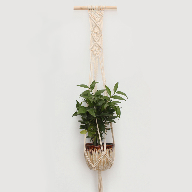 Macrame Plant Hanger Indoor Outdoor Hand Knit Hanging Planter Wood Stick Basket Wall Art G1001 (a stick with 1 basket)
