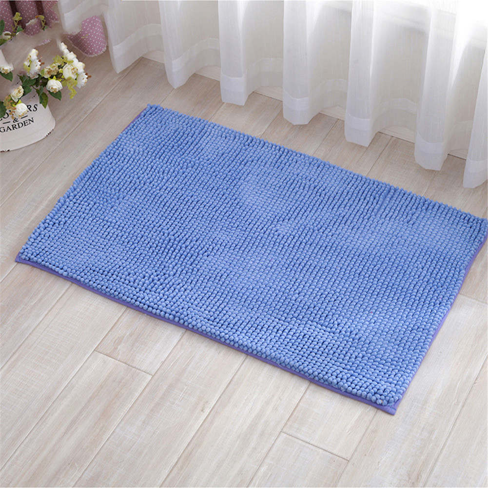 Chenille Bath Mat Non-Slip Water Absorption Floor Mat for Kids Bathroom Shower Mat Area Rugs  blue_50*80cm