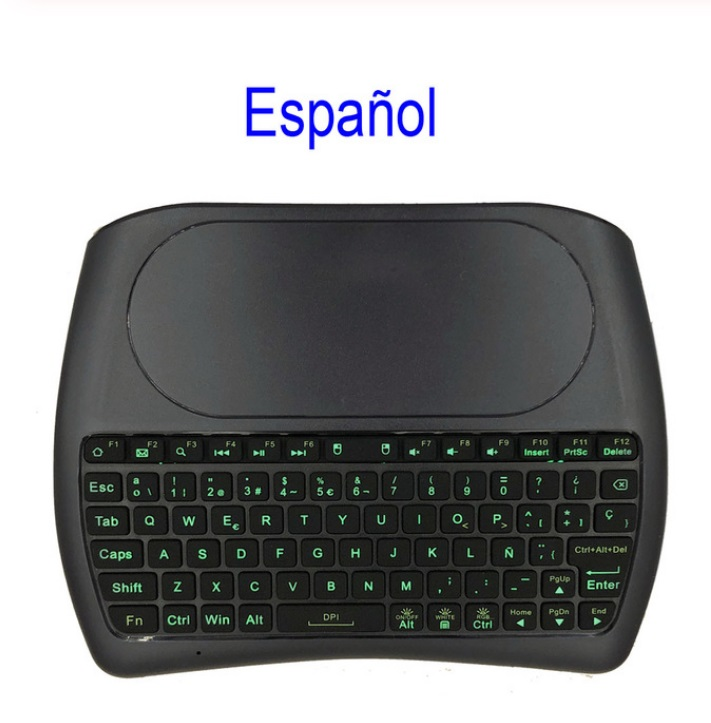 D8 Pro Wireless keyboard 2.4GHz Mini Keyboard Wireless Air Mouse Touchpad 7-color Backlit for Android TV BOX Spanish