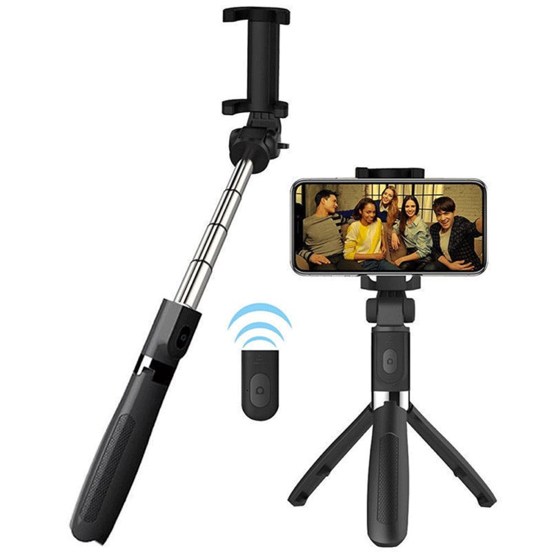 L01 Bluetooth Selfie Stick Tripod Wireless Remote Control Phone Stand Universal for iOS Android Cellphone L01 black