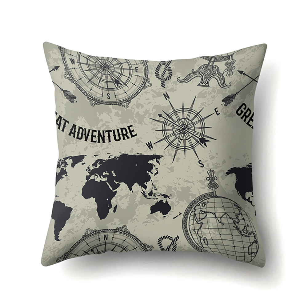 Square World Map Compass Pillowcase Cushion Throw Pillow Cover Printed Living Room Sofa Pillow Case 45*45cm CCA419(5)