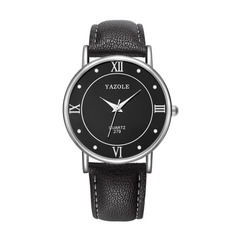 Lovers Business Fashion Leisure Simple Type Quartz Wristwatch large black dial black belt