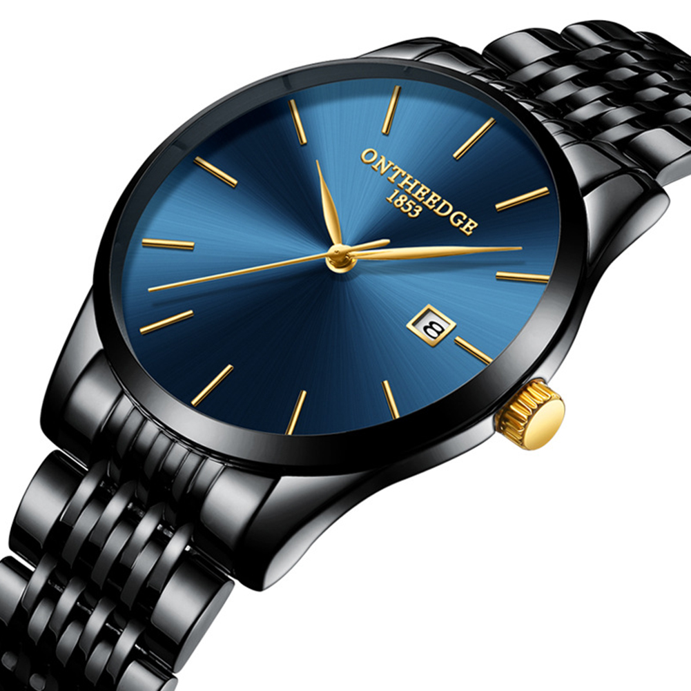 Men Thin Fine Steel Band Quartz Movement Calendar Watch blue dial black band