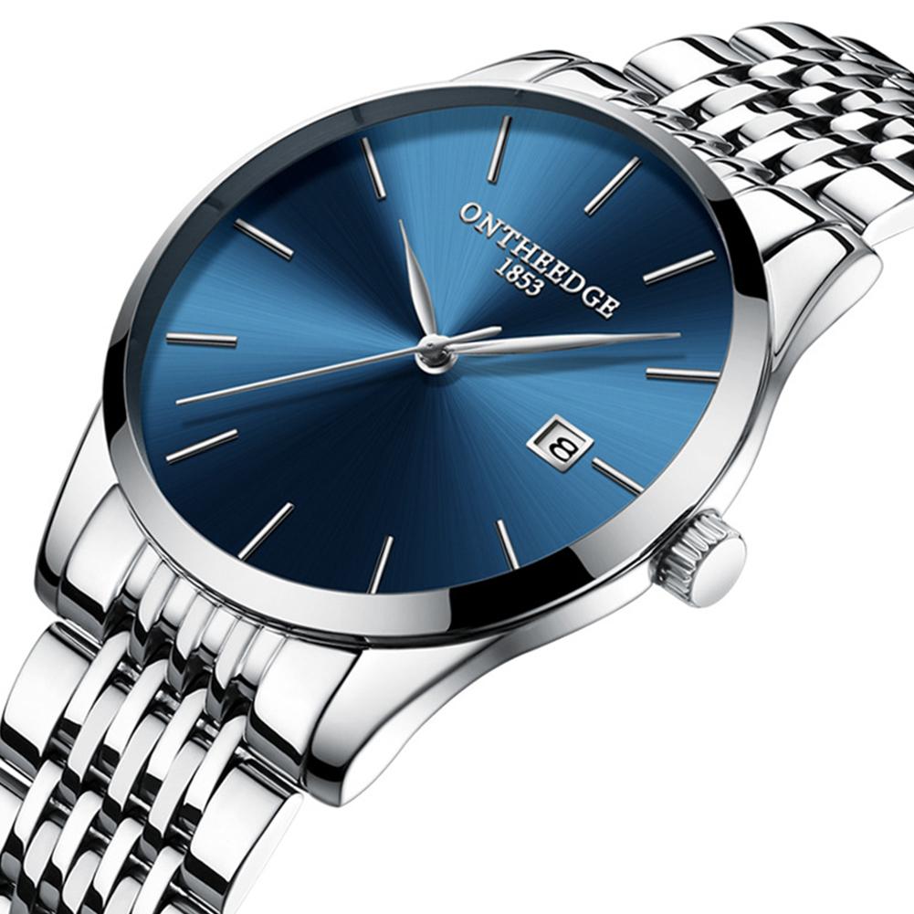 Men Thin Fine Steel Band Quartz Movement Calendar Watch Blue dial silver band
