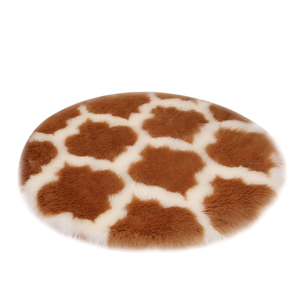 Fuzzy Rug Area  Rug Round Floor Mat Carpet For Bedroom Living Room Home Decor Camel lantern with white edge_80cm in diameter