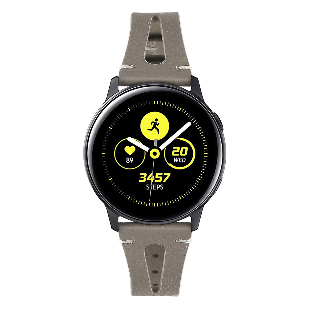 Smart Watch First Layer Cow Leather Leather Straps for Sumsung Galaxy Watch Active Watch gray