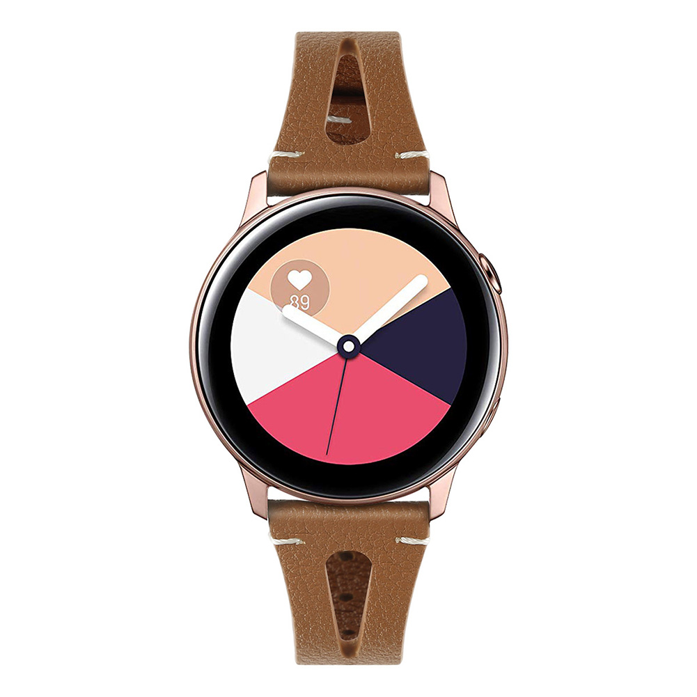 Smart Watch First Layer Cow Leather Leather Straps for Sumsung Galaxy Watch Active Watch brown