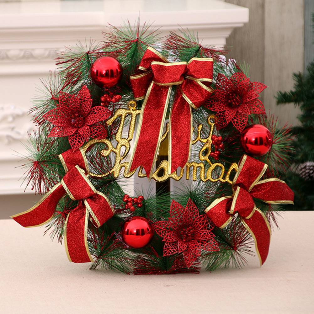 Christmas Door Decoration Hotel Restaurant Simulation Christmas Wreath Garland  Mall Decor 40cm red