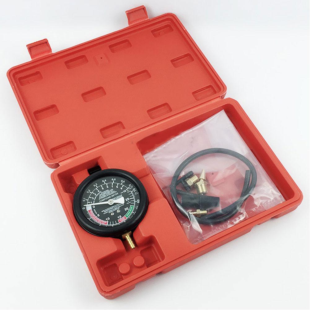 High Precision Car Engine Vacuum Pressure Gauge Meter For Fuel System Vacuum System Sealing Leak Checker Tool  black