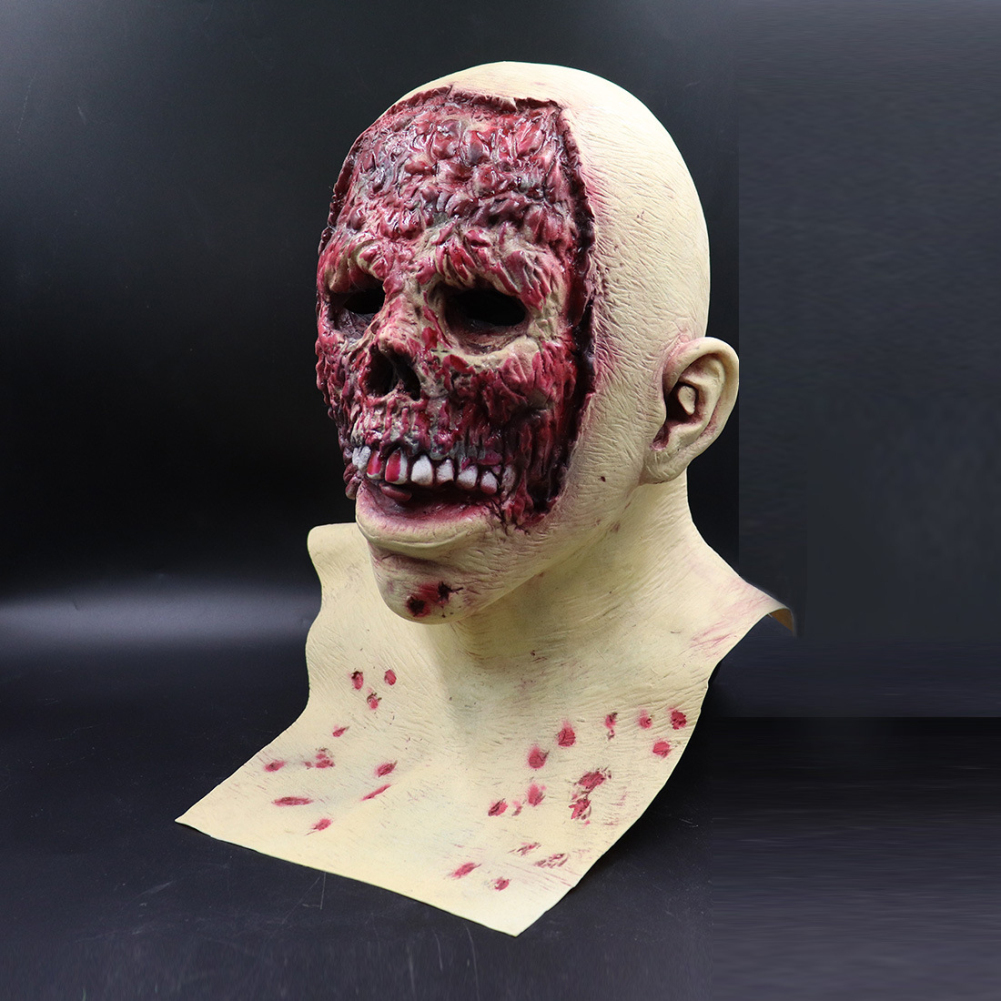 Scary Mask for Halloween Costume Party Realistic Latex Skeleton Face Mask Prop Skinless face