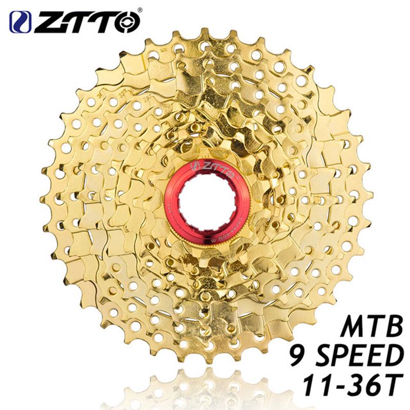 ZTTO 9s Cassette 11-36T 9 Speed Freewheel Flywheel Sprocket Gold Cassette Flywheel Bicycle Parts 9-speed 11T-36T