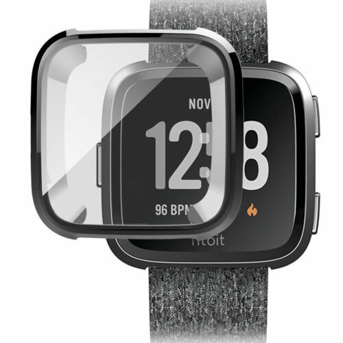 For Fitbit Versa Silicone Ultra Thin TPU Shell Case Screen Protector Frame Cover black