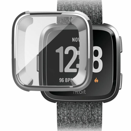 For Fitbit Versa Silicone Ultra Thin TPU Shell Case Screen Protector Frame Cover Silver