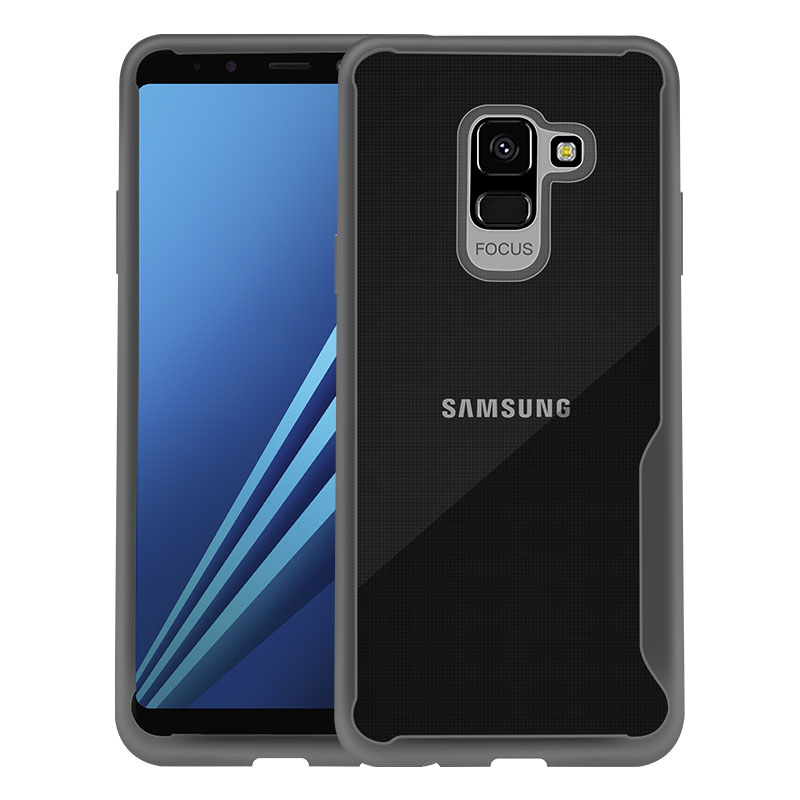 For Samsung A8 2018/A530 Ultra Slim Translucent Back Cover Non-slip Shockproof TPU Full Protective Case  Transparent gray