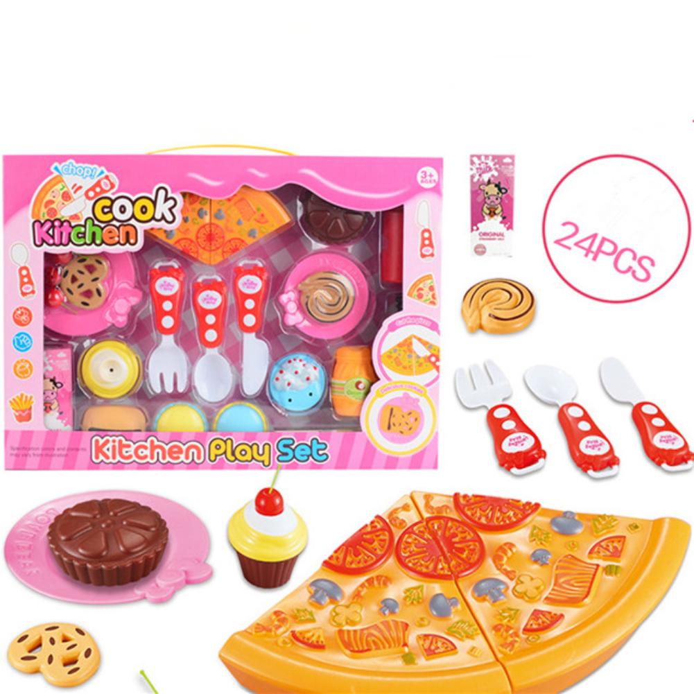 20Pcs/24Pcs Kids Simulation Pizza Cake Cutting Toy Random Color Style