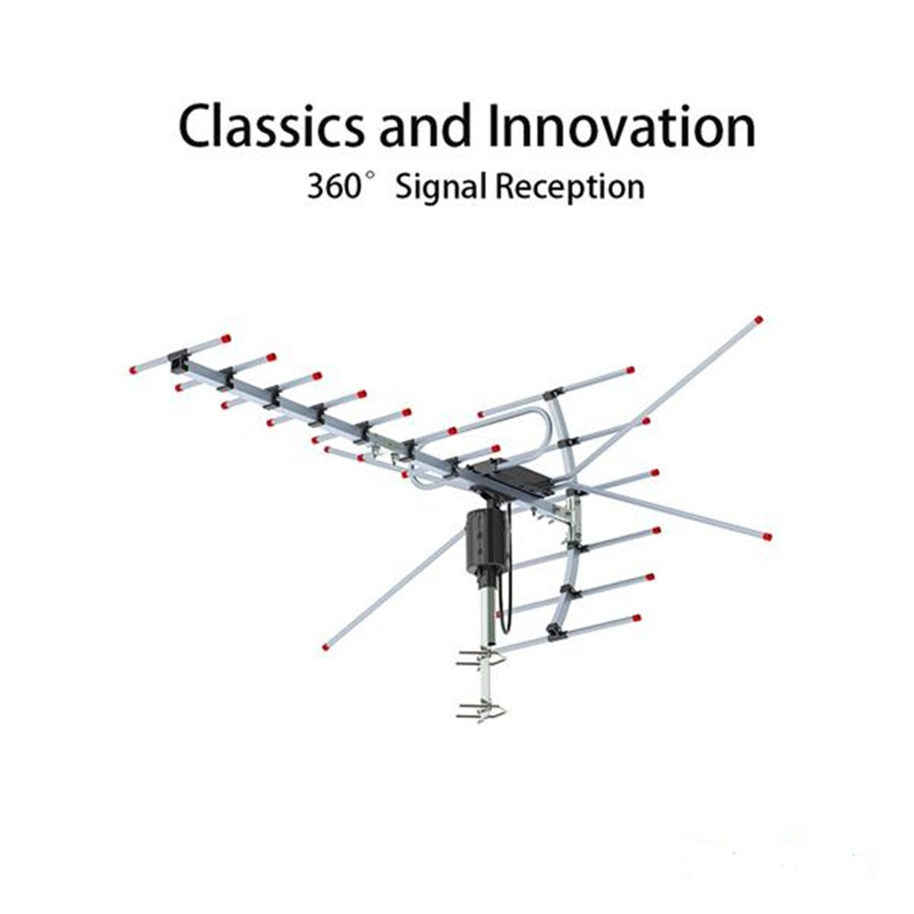 [US Direct] Original LEADZM Ta-001 360-degree Rotating Uv Dual-stage 45-230mhz/470-860mhz 15-22db Outdoor Antenna Black 8 Meter Wire U.S. regulations