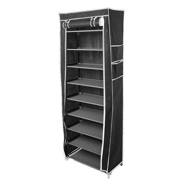 [US Direct] Non-woven 9 Tiers Shoe Cabinet Storage Closet Organizer Shoes  Rack black