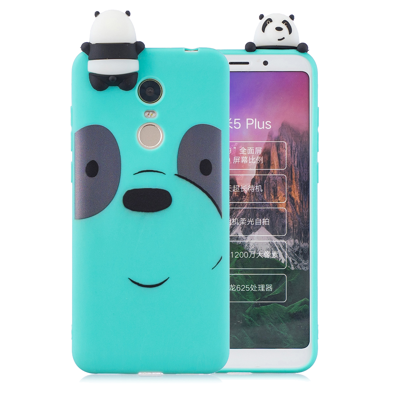 For Redmi 8/8A/5/Note 8T Mobile Phone Case Cute Cellphone Shell Soft TPU Cover with Cartoon Pig Duck Bear Kitten Lovely Pattern Light blue