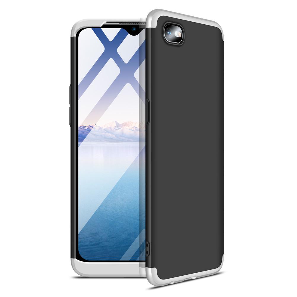 For OPPO Realme C2 Ultra Slim PC Back Cover Non-slip Shockproof 360 Degree Full Protective Case Silver black silver