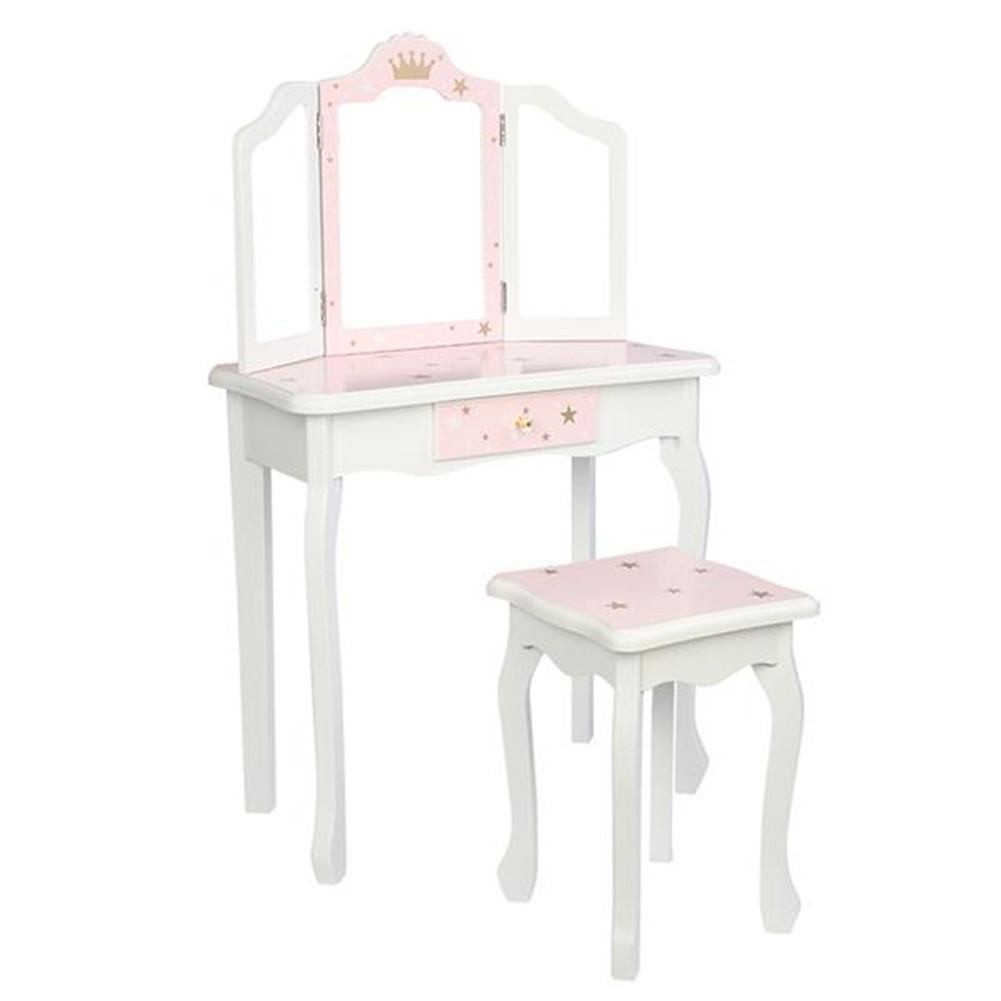 [US Direct] Mdf Wooden Children Dressing  Table Set With Three-sided Folding Mirror Single Drawer Chair Pink