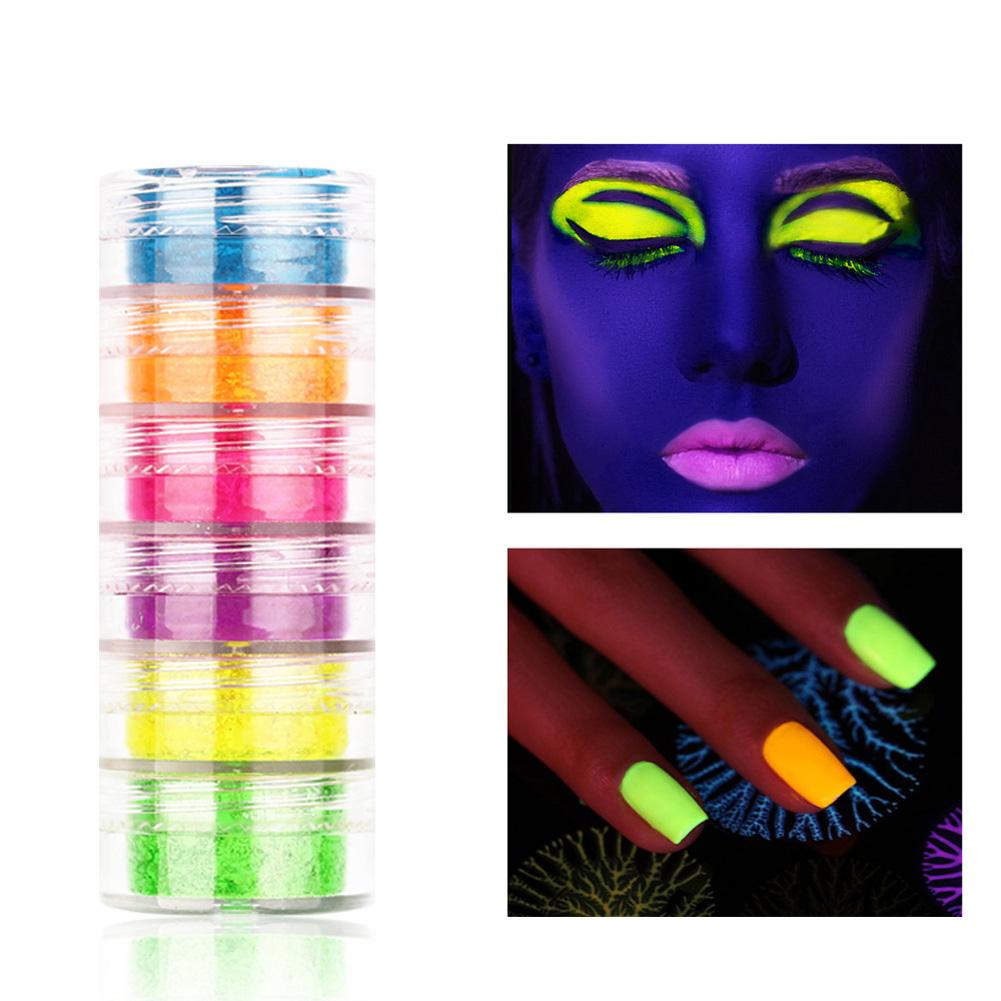 6pcs Neon Phosphor Pigment Powder Set Fluorescent Nail Glitter Eye Powder Nail Art Dust Pigment Paillettes 6 color nail powder