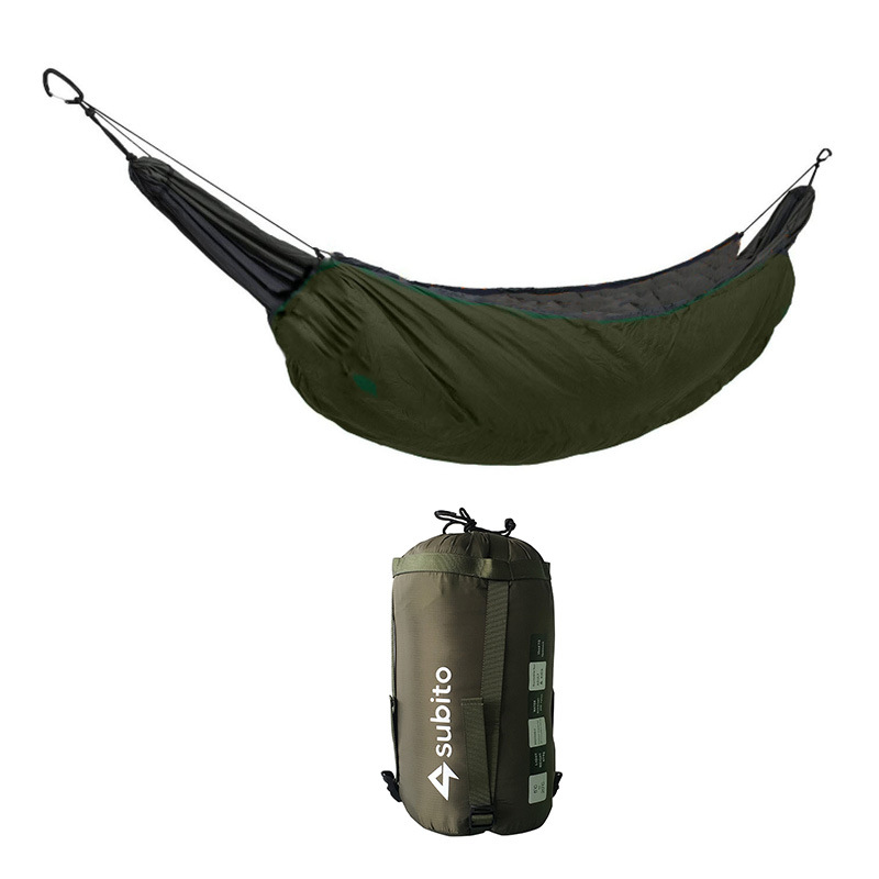 Portable Hammock Sleeping Bag Outdoor Casual Thermal Hammock Accessory for Camping 230*110 (Army Green)