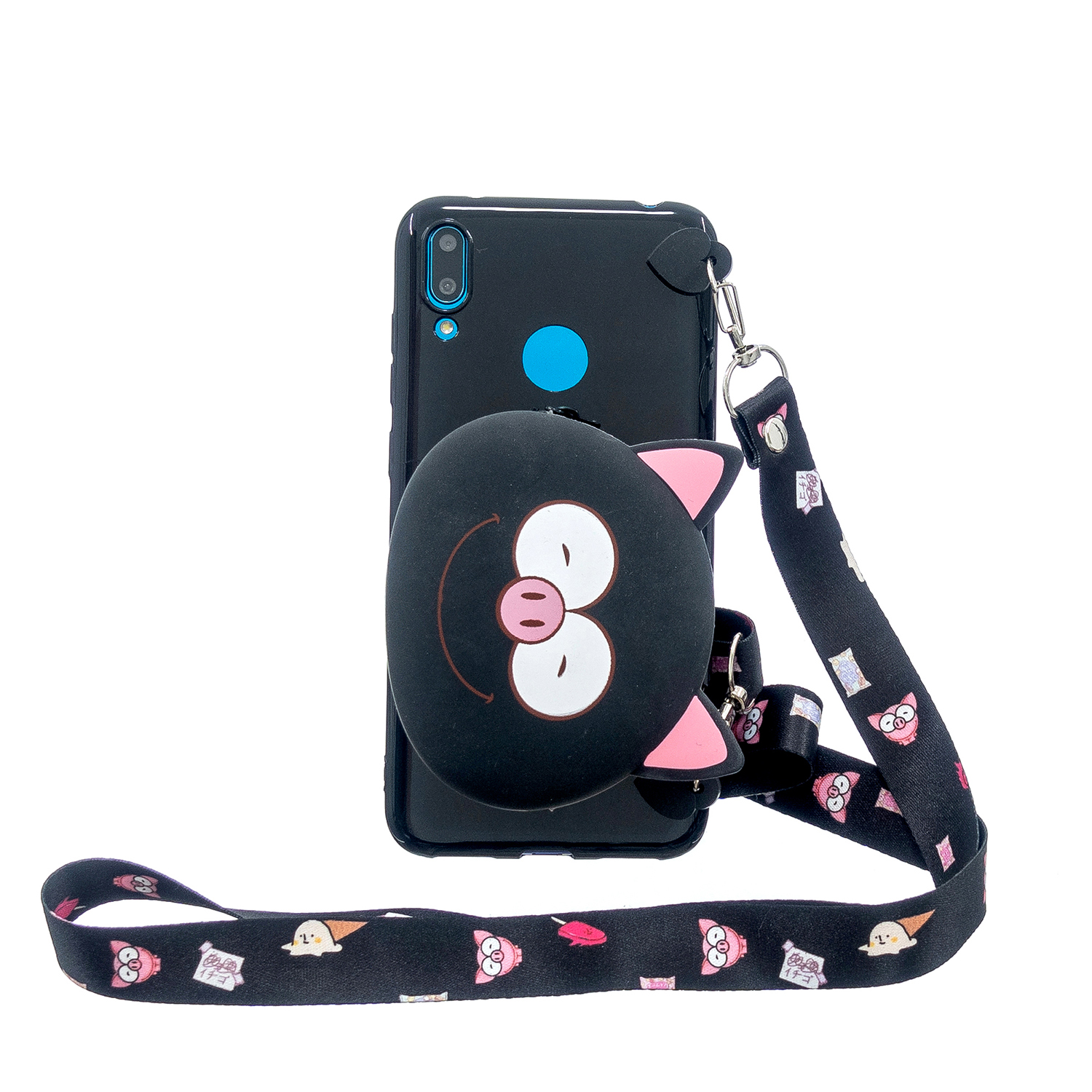 For HUAWEI Y6/Y7 Prime 2019 Cellphone Case Mobile Phone Shell Shockproof TPU Cover with Cartoon Cat Pig Panda Coin Purse Lovely Shoulder Starp  Black