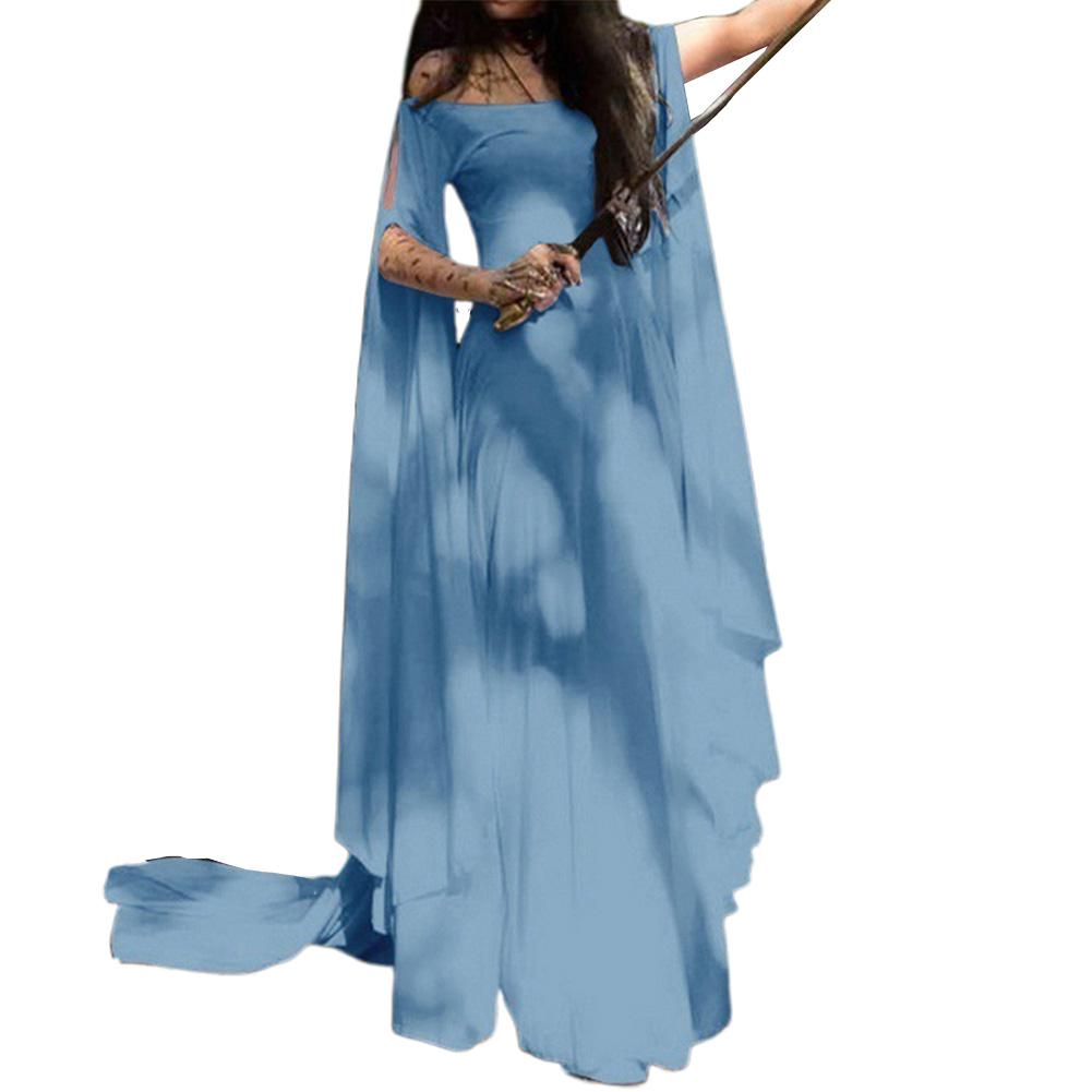 Party Long Sleeve Belt Ladies Dress Halloween Dress Light blue_S