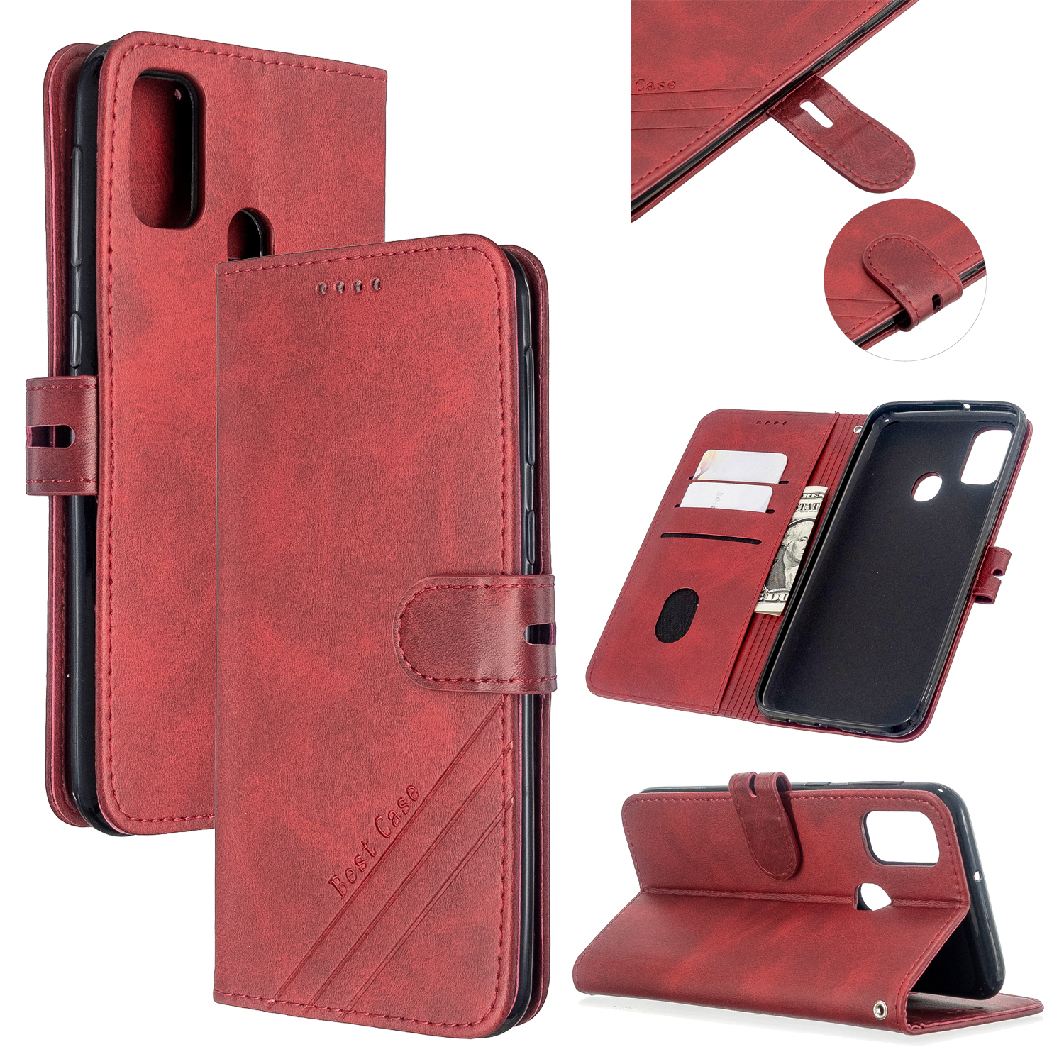 For Samsung A51/A71/M30S Case Soft Leather Cover with Denim Texture Precise Cutouts Wallet Design Buckle Closure Smartphone Shell  red