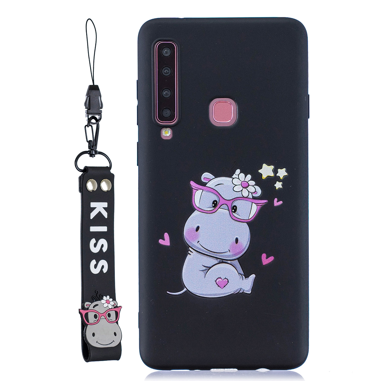 For Samsung A9 2018 Cartoon Lovely Coloured Painted Soft TPU Back Cover Non-slip Shockproof Full Protective Case with Lanyard black
