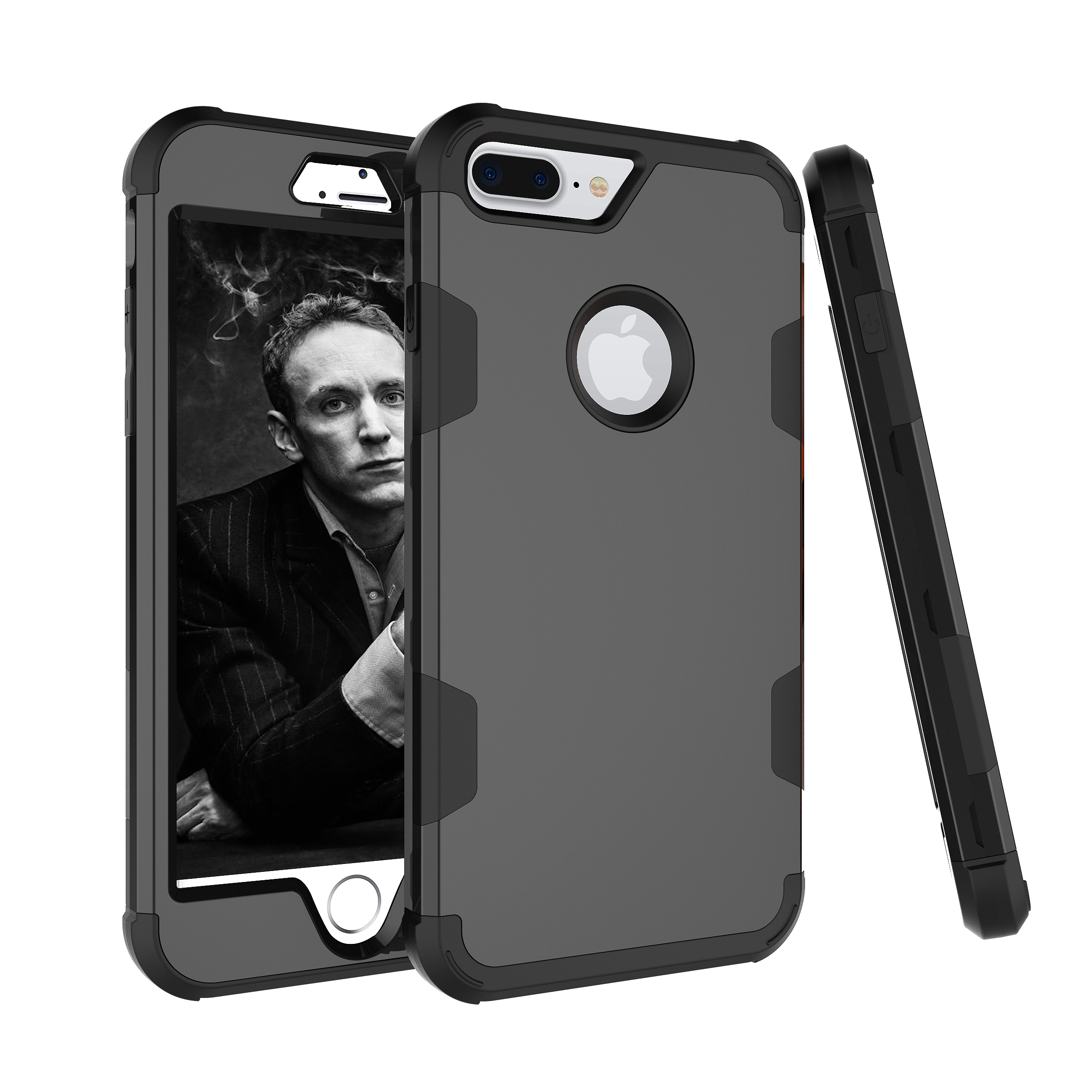 For iPhone 7 plus PC+ Silicone 2 in 1 Hit Color Tri-proof Shockproof Dustproof Anti-fall Protective Cover Back Case black