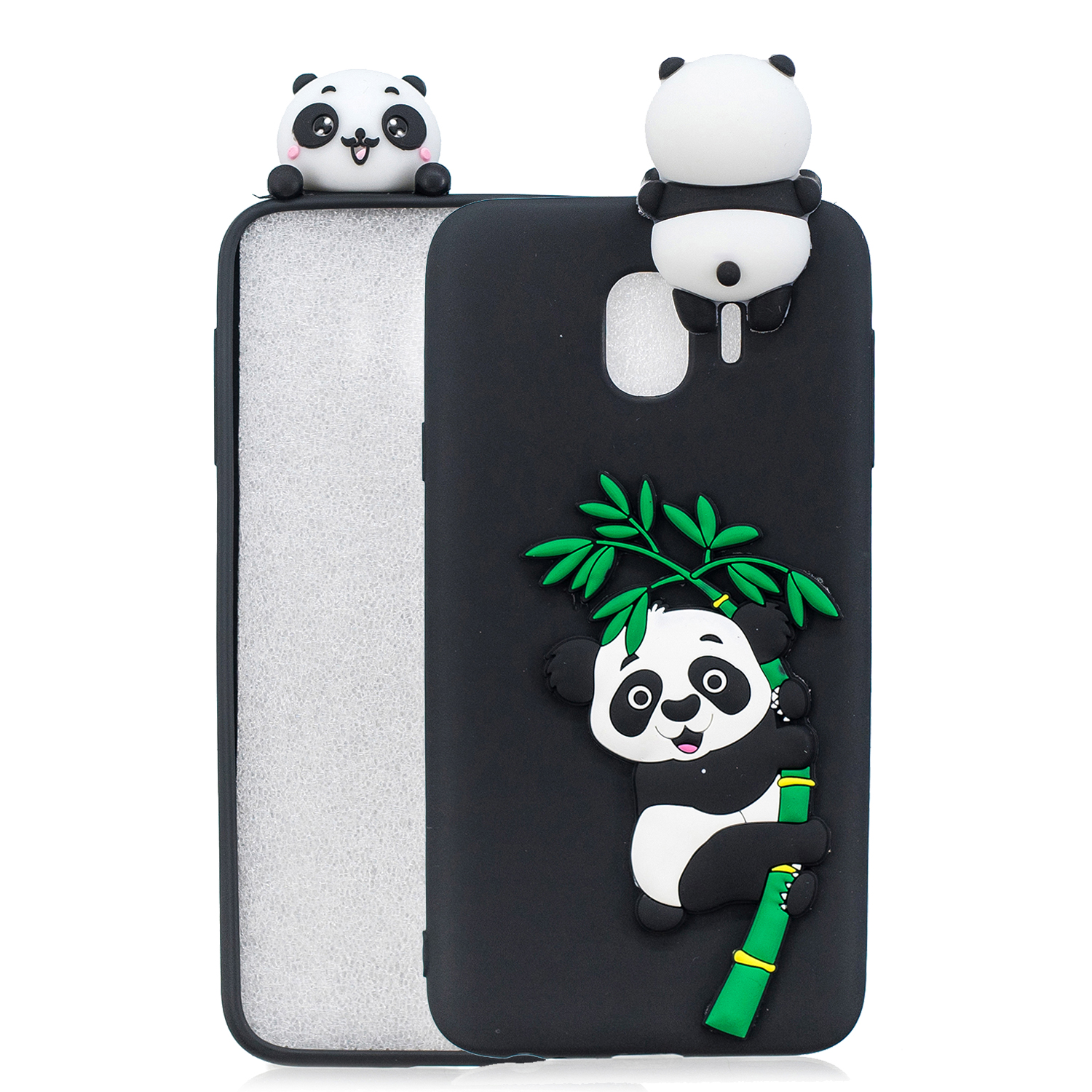 For Samsung J4 2018/J4 Plus Phone Case 3D Cartoon Panda Bamboo Cellphone Back Shell Shockproof Smartphone Cover Black