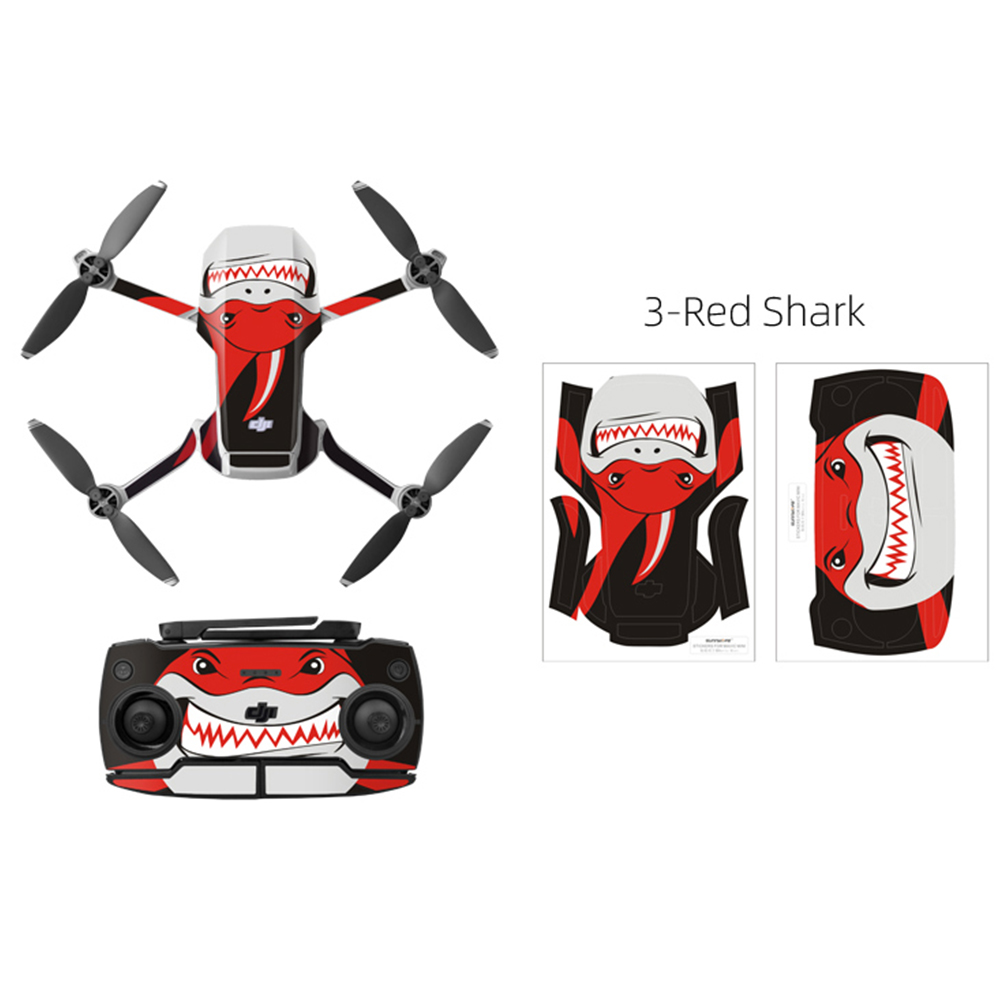 PVC Shell Decoration Sticker for DJI Mavic Mini Drone Body Arm and Controller Waterproof Anti-Scratch Full Protective Film Shark red