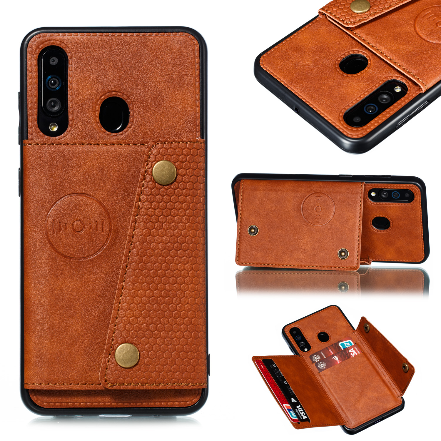 For Samsung A60 Double Buckle Non-slip Shockproof Cell Phone Case with Card Slot Bracket Light Brown