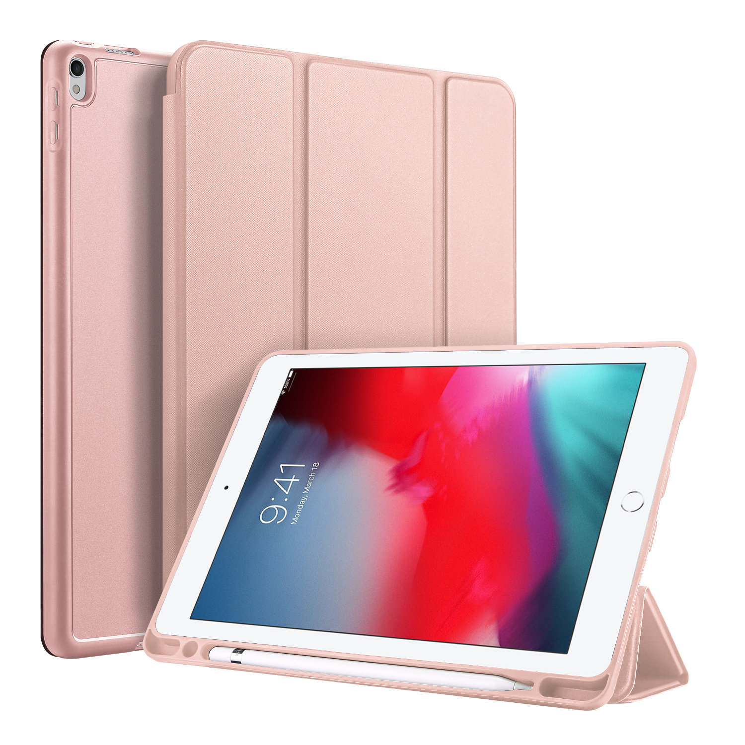 DUX DUCIS For iPad air 3 2019 / ipad pro 10.5 PU Leather+TPU Bottom Shell 3 Folding Protective Case with Pen Holder Pink
