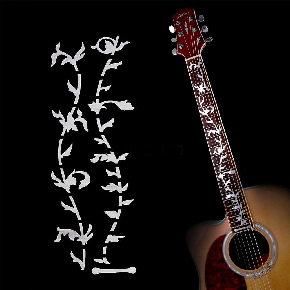 Electric Acoustic Guitar Stickers Inlay Decal Ultra Thin Fretboard Sticker for Guitar Accessories Silver