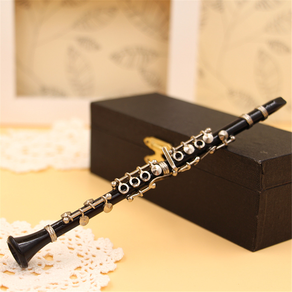Mini Clarinet Model Musical Instrument Miniature Desk Decor Display with black leather box + bracket 13.5cm_Black clarinet 1/8 ratio