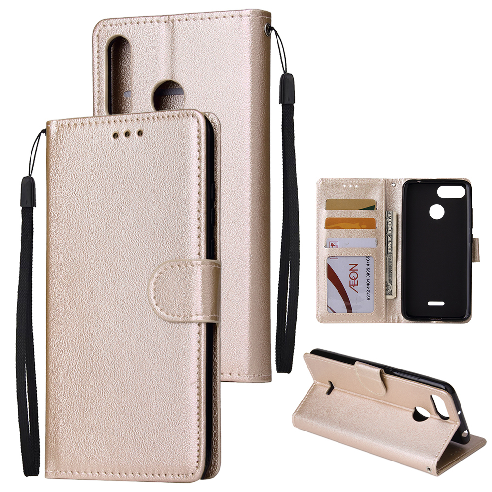 For HUAWEI P30 lite/nova 4E Flip-type Leather Protective Phone Case with 3 Card Position Buckle Design Phone Cover  Gold