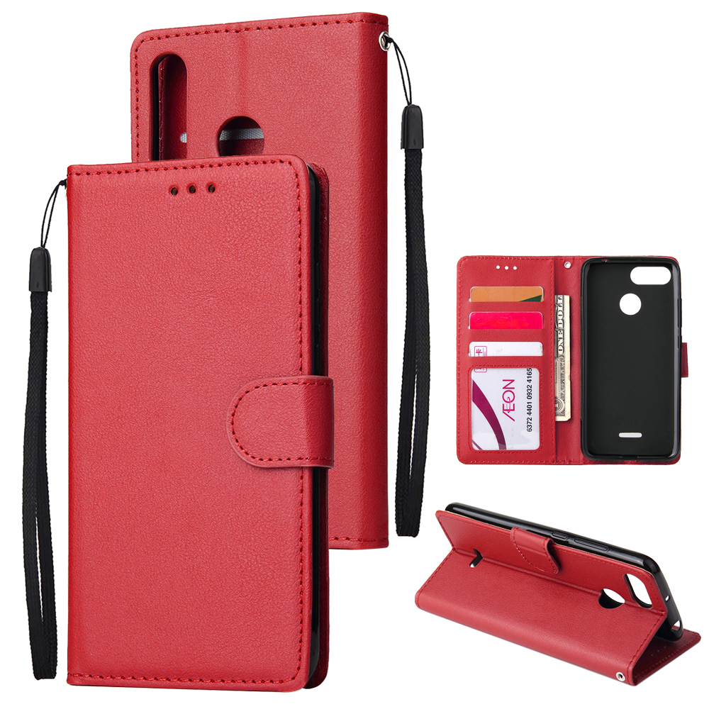 For HUAWEI P30 lite/nova 4E Flip-type Leather Protective Phone Case with 3 Card Position Buckle Design Phone Cover  red