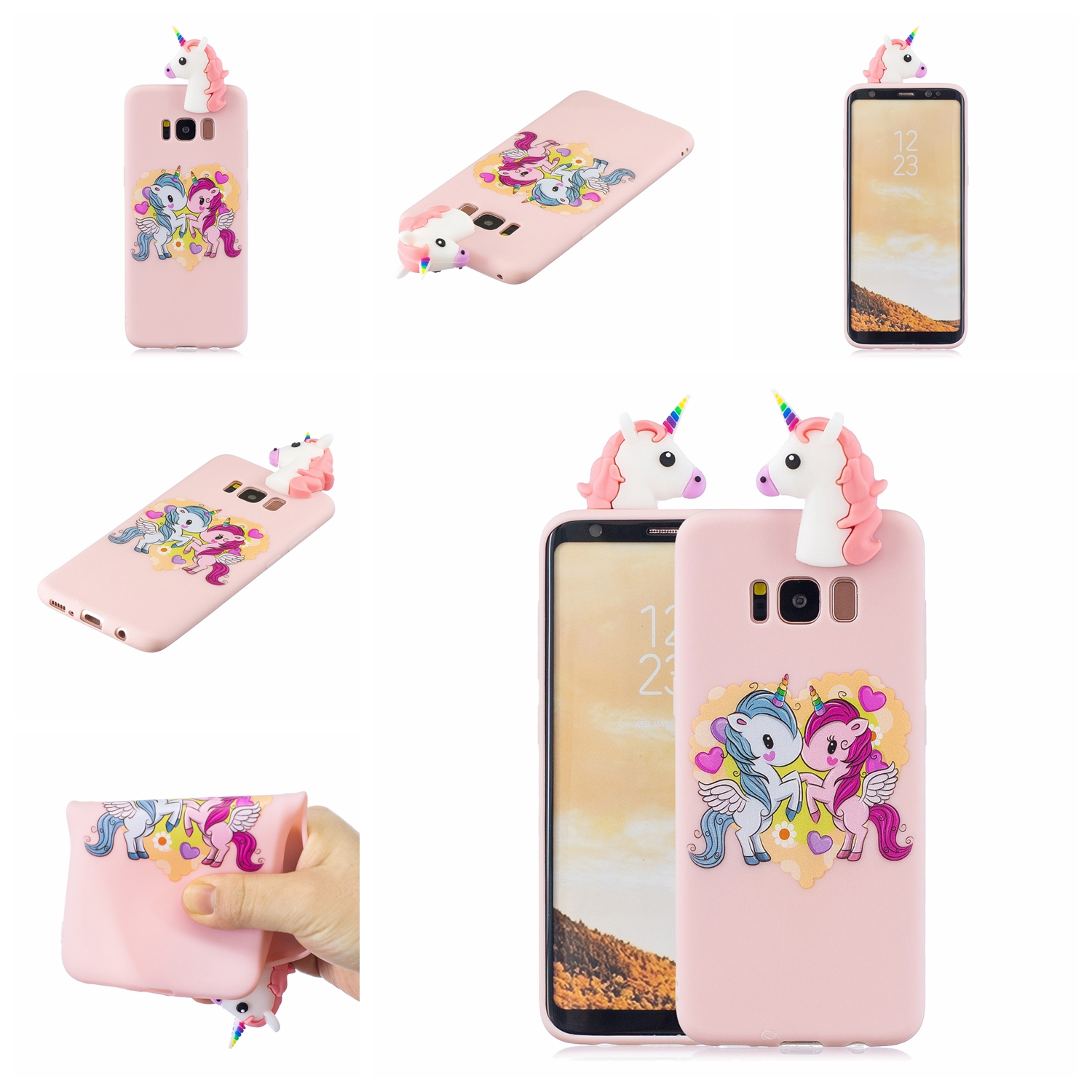For Samsung S8 3D Cartoon Lovely Coloured Painted Soft TPU Back Cover Non-slip Shockproof Full Protective Case Light pink
