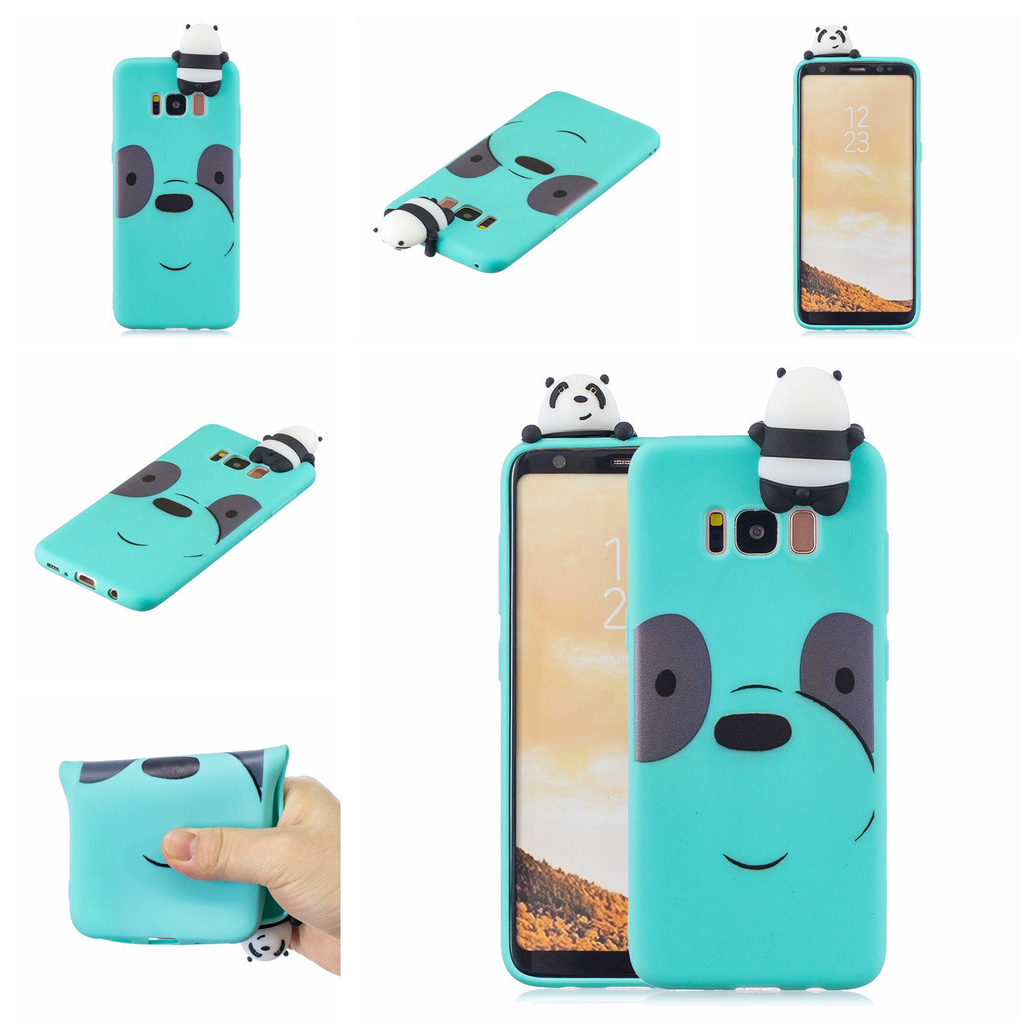 For Samsung S8 3D Cartoon Lovely Coloured Painted Soft TPU Back Cover Non-slip Shockproof Full Protective Case Light blue