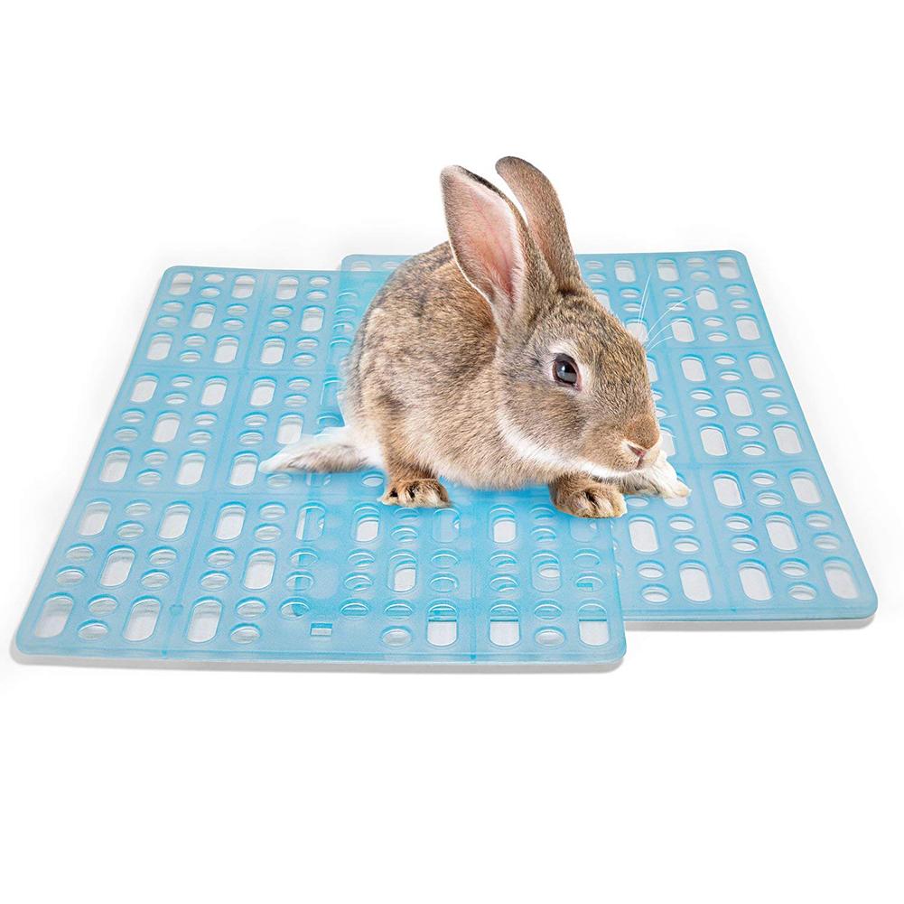 Plastic Grids Pet Foot Mat Rabbit Guinea Pig Cat Mouse Placemat Cushion Cage Litter Mat  sky blue_L