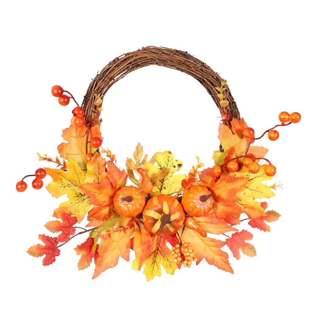 Artificial Pumpkin Maple Leaves Wreath for Front Door Halloween Thanksgiving Decor Half side pumpkin door hanging 35cm
