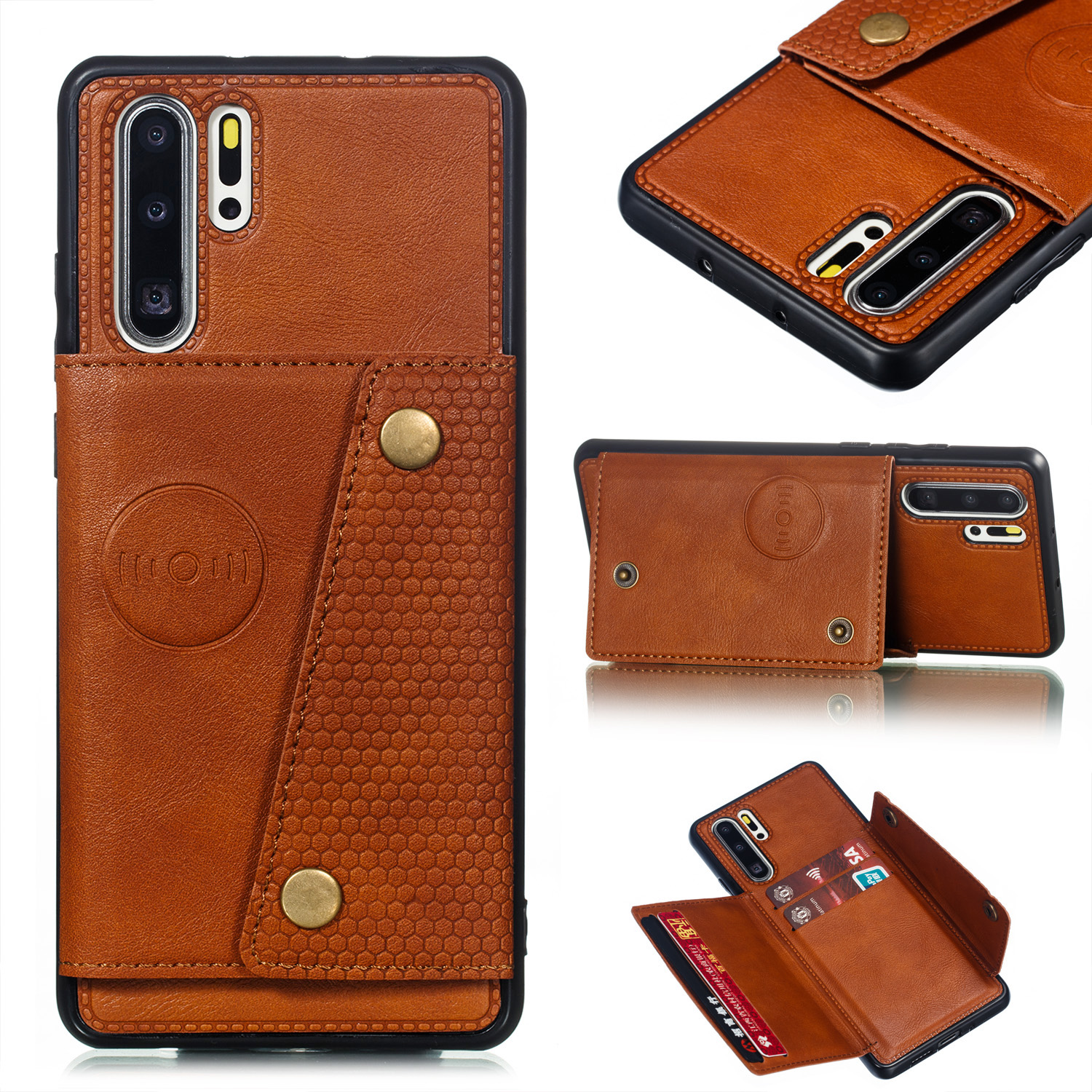 For Huawei P30 pro Double Buckle Non-slip Shockproof Cell Phone Case with Card Slot Bracket Light Brown
