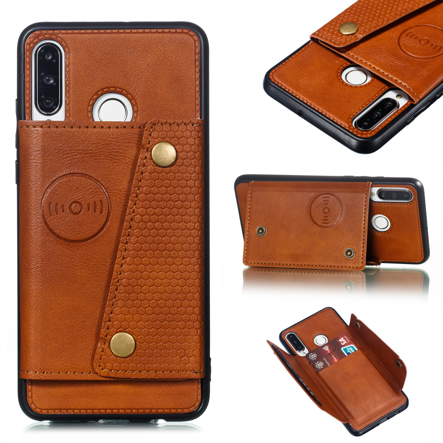 For Huawei P30 lite/nova 4E Double Buckle Non-slip Shockproof Cell Phone Case with Card Slot Bracket Light Brown