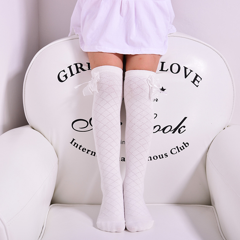Soft Cotton Baby Kids Stockings Cute Sweet Lace Bowknot over Calf Knee High Socks white_43CM for 4-15 years old