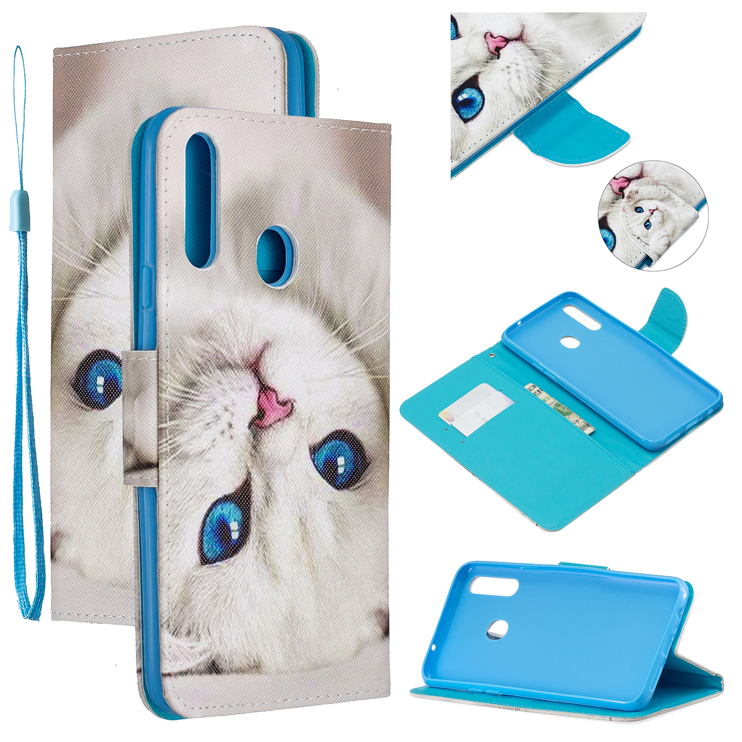For Samsung A10S/A20S Smartphone Case PU Leather Phone Shell Lovely Cartoon Pattern Card Slots Overall Protection Blue eyes cat
