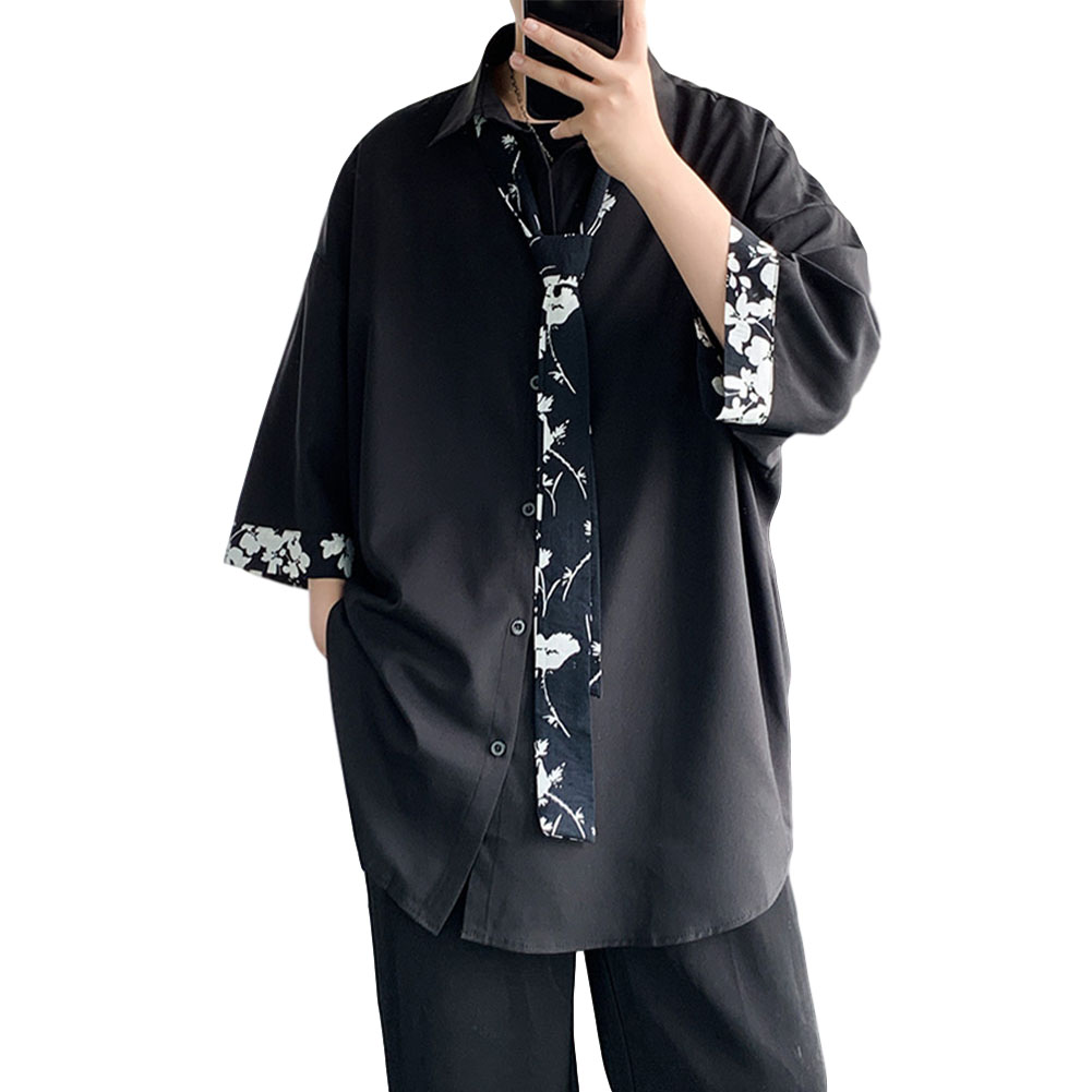 Men's Shirt Long-sleeve Lapel Loose Casual Floral Shirt with Tie Black _L